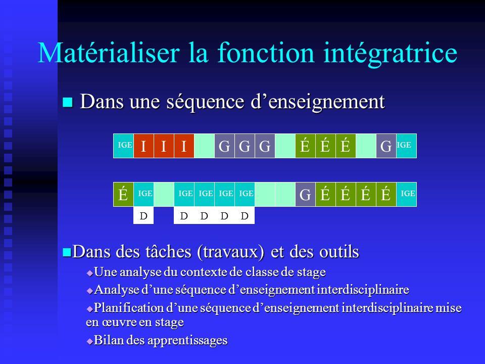 Matérialiser la fonction intégratrice Dans une séquence denseignement Dans une séquence denseignement IIIGÉÉÉGG ÉÉÉÉGÉ IGE DDDDD G Dans des tâches (travaux) et des outils Dans des tâches (travaux) et des outils Une analyse du contexte de classe de stage Une analyse du contexte de classe de stage Analyse dune séquence denseignement interdisciplinaire Analyse dune séquence denseignement interdisciplinaire Planification dune séquence denseignement interdisciplinaire mise en œuvre en stage Planification dune séquence denseignement interdisciplinaire mise en œuvre en stage Bilan des apprentissages Bilan des apprentissages