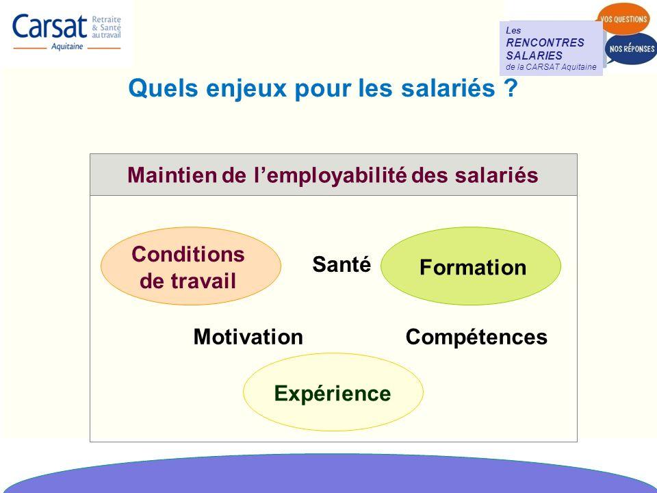 Les RENCONTRES SALARIES de la CARSAT Aquitaine Quels enjeux pour les salariés .