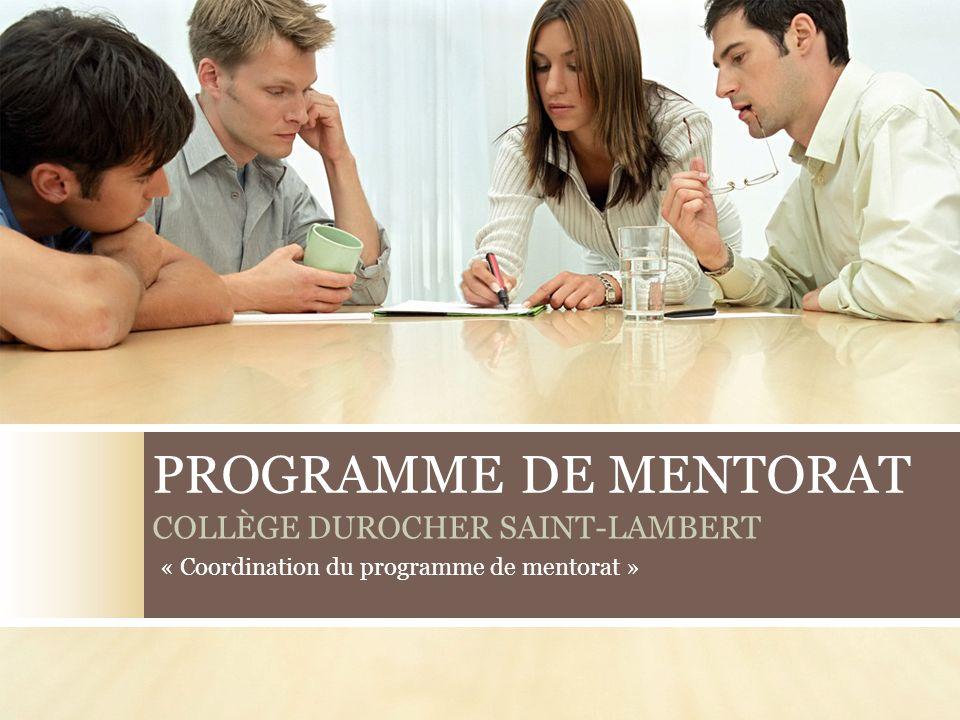 Création du programme de mentorat Projet-pilote de janvier à juin 2008 Structure organisationnelle du programme de mentorat au CDSL Programme de mentorat du CDSL Direction généraleDirection des ressources humainesCoordonnateurDyades 2