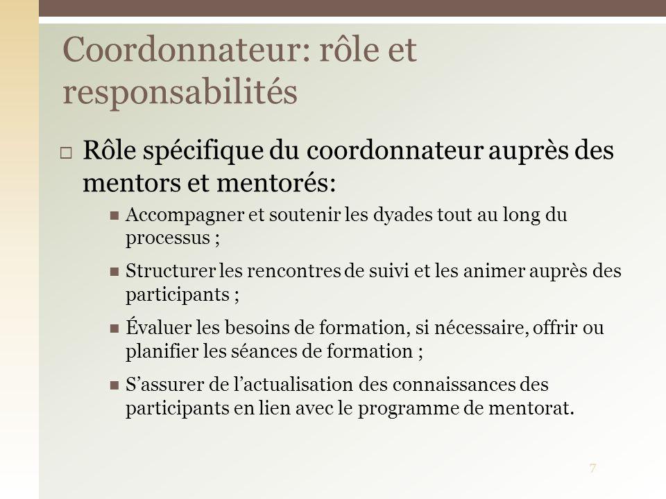Rôle spécifique du coordonnateur auprès des mentors et mentorés: Accompagner et soutenir les dyades tout au long du processus ; Structurer les rencont