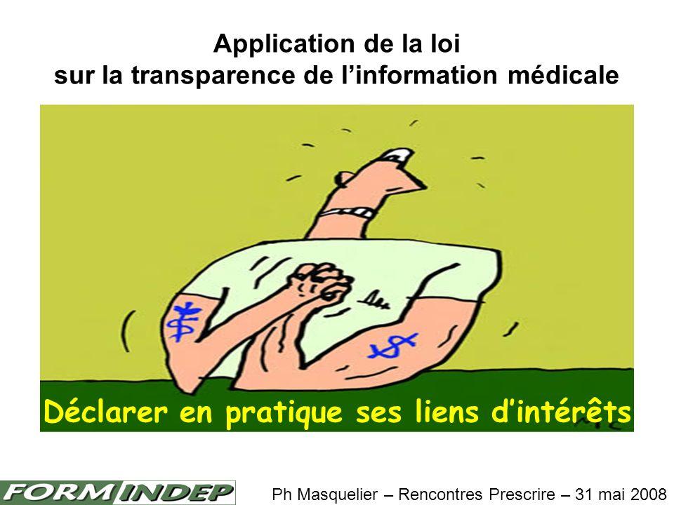 Déclarer en pratique ses liens dintérêts Application de la loi sur la transparence de linformation médicale Ph Masquelier – Rencontres Prescrire – 31 mai 2008