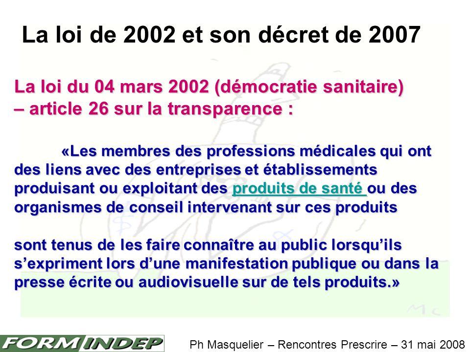 La loi de 2002 et son décret de 2007 Ph Masquelier – Rencontres Prescrire – 31 mai 2008 La loi du 04 mars 2002 (démocratie sanitaire) – article 26 sur la transparence : «Les conditions dapplication du présent article sont fixées par décret en Conseil dEtat.
