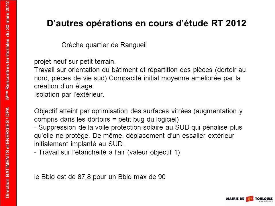 Direction BATIMENTS et ENERGIES / DPA Dautres opérations en cours détude RT 2012 Crèche quartier de Rangueil projet neuf sur petit terrain. Travail su