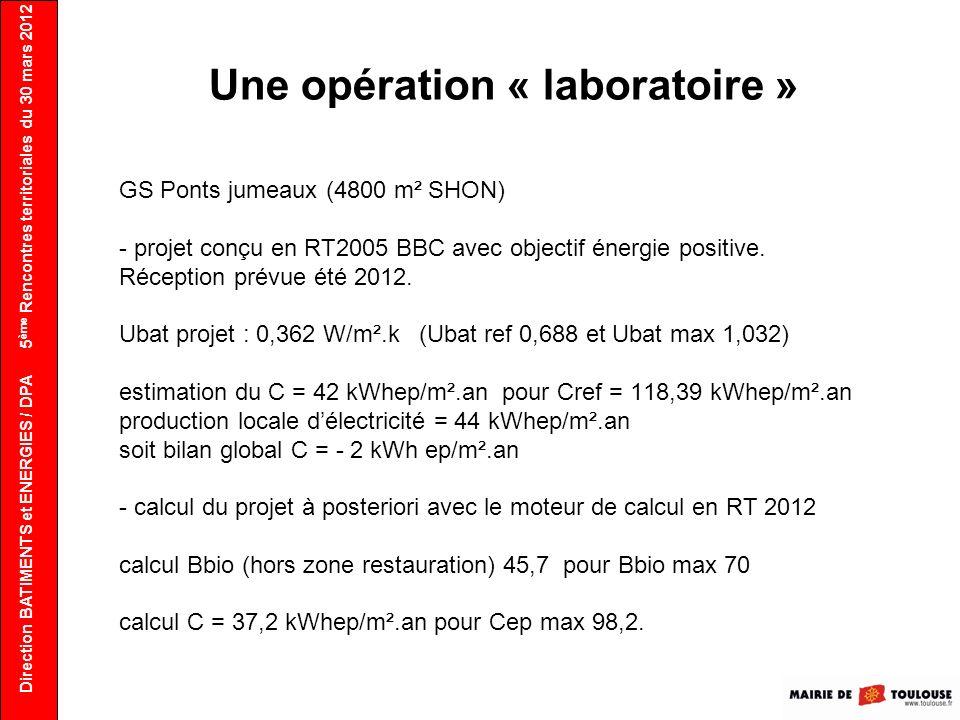 Direction BATIMENTS et ENERGIES / DPA 5 ème Rencontres territoriales du 30 mars 2012 Une opération « laboratoire » GS Ponts jumeaux (4800 m² SHON) - p