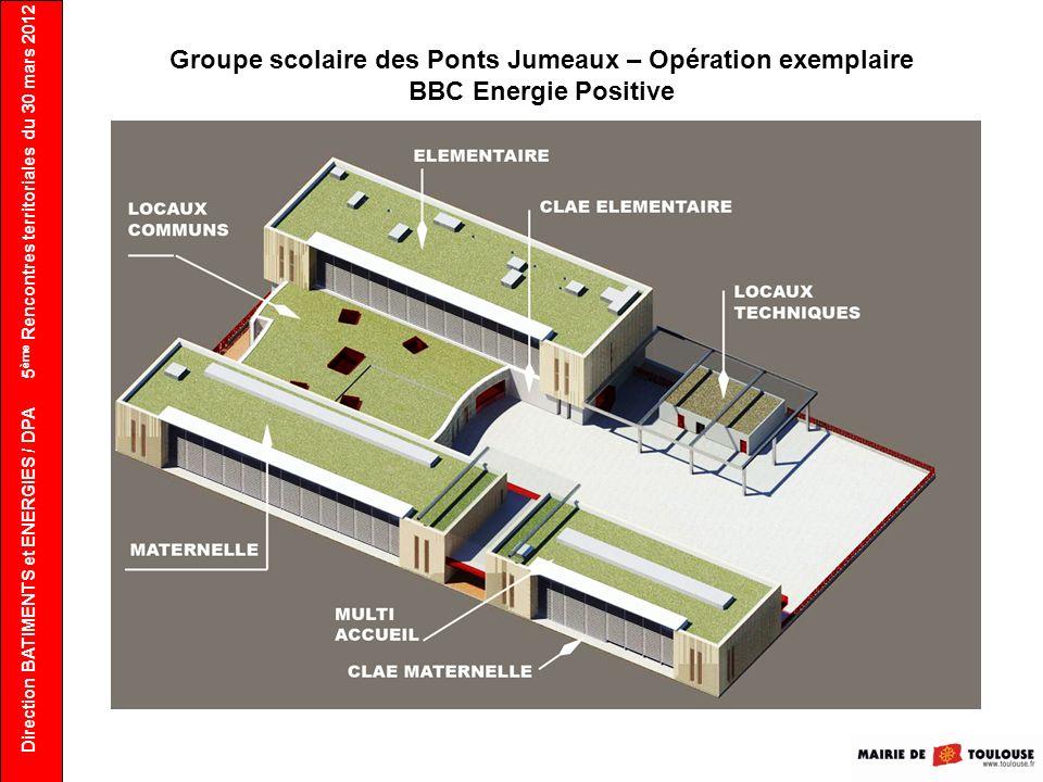 Direction BATIMENTS et ENERGIES / DPA 5 ème Rencontres territoriales du 30 mars 2012 Groupe scolaire des Ponts Jumeaux – Opération exemplaire BBC Ener