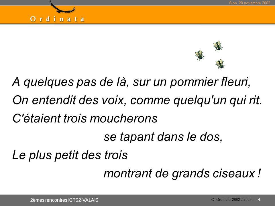 Sion, 20 novembre 2002 2èmes rencontres ICTS2-VALAIS © Ordinata 2002 / 2003 – 4 A quelques pas de là, sur un pommier fleuri, On entendit des voix, comme quelqu un qui rit.
