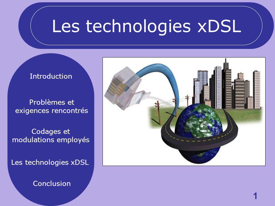1 Introduction Problèmes et exigences rencontrés Codages et modulations employés Les technologies xDSL Conclusion Les technologies xDSL