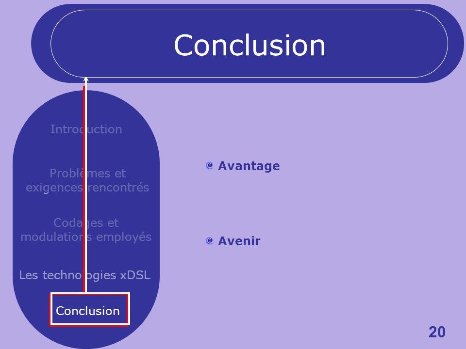 20 Introduction Problèmes et exigences rencontrés Codages et modulations employés Les technologies xDSL Conclusion Avantage Avenir Conclusion