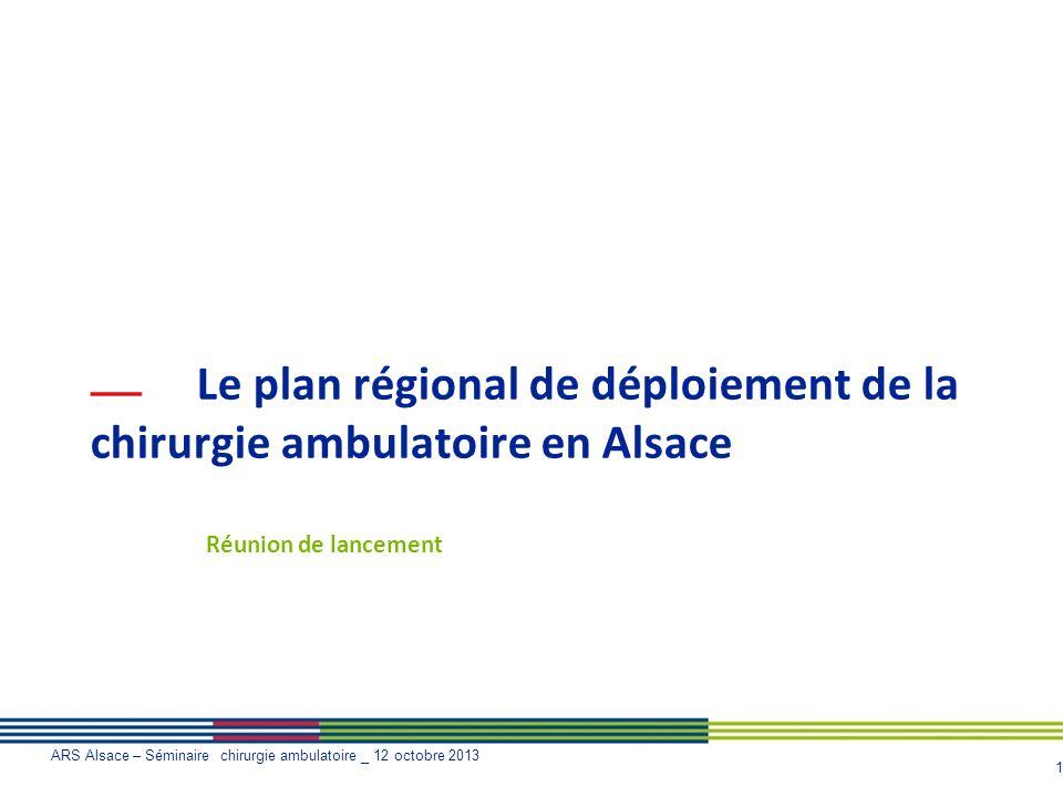 1 ARS Alsace – Séminaire chirurgie ambulatoire _ 12 octobre 2013 Le plan régional de déploiement de la chirurgie ambulatoire en Alsace Réunion de lanc