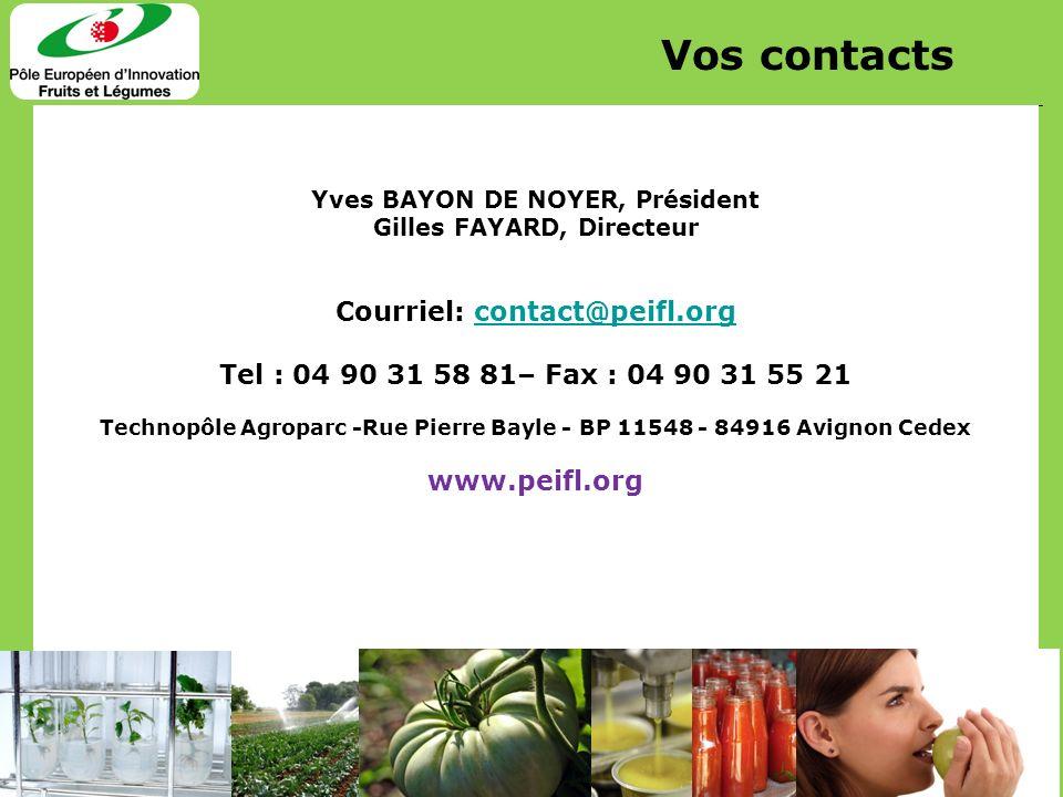 20 Yves BAYON DE NOYER, Président Gilles FAYARD, Directeur Courriel: contact@peifl.orgcontact@peifl.org Tel : 04 90 31 58 81– Fax : 04 90 31 55 21 Tec