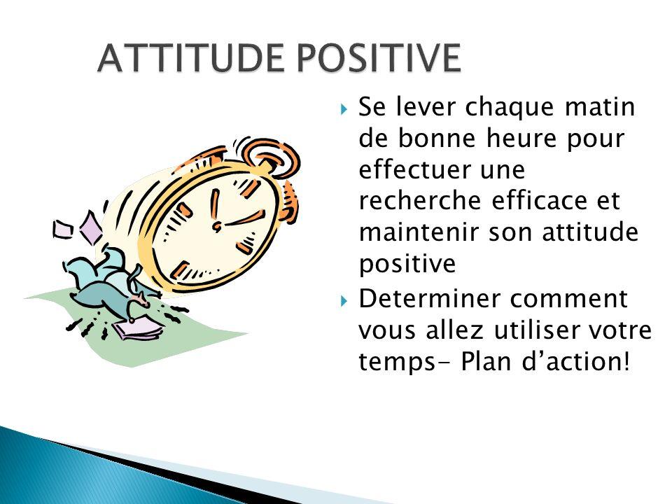 Se lever chaque matin de bonne heure pour effectuer une recherche efficace et maintenir son attitude positive Determiner comment vous allez utiliser v