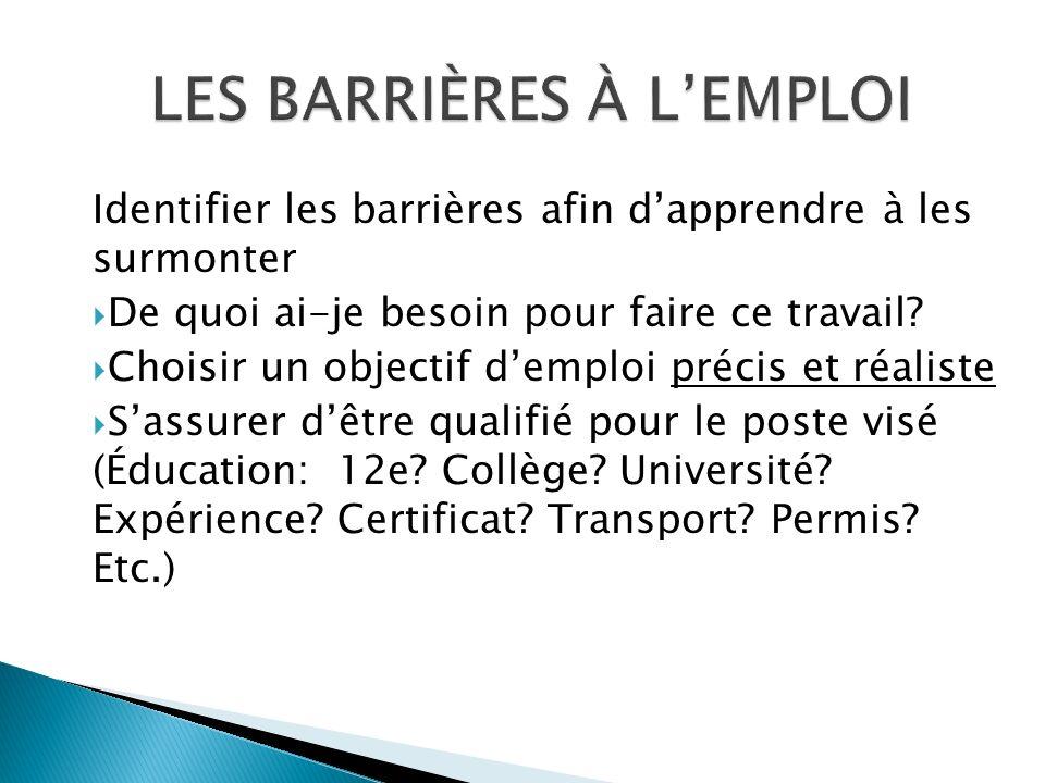 Emploi Ontario http://www.edu.gov.on.ca/fre/tcu/employmentontario/jobs Travailler au Canada http://www.travailleraucanada.gc.ca/pieces_jointes-fra.do?cid=1&lang=fra Information sur le marché du travail http://www.labourmarketinformation.ca/standard.aspx?pcode=lmiv_main&lcode=F Classification nationale des professions http://www5.rhdcc.gc.ca/CNP/Francais/CNP/2006/Bienvenue.aspx CONNAÎTRE LE MARCHÉ DU TRAVAIL