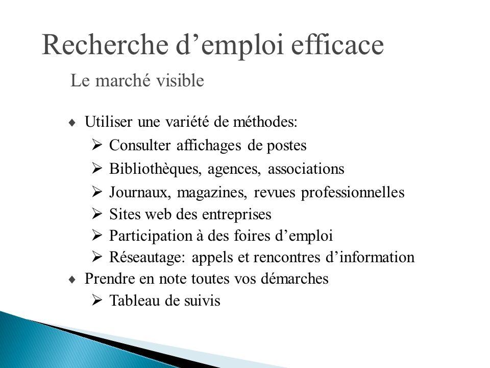 Recherche demploi efficace Utiliser une variété de méthodes: Consulter affichages de postes Bibliothèques, agences, associations Journaux, magazines,