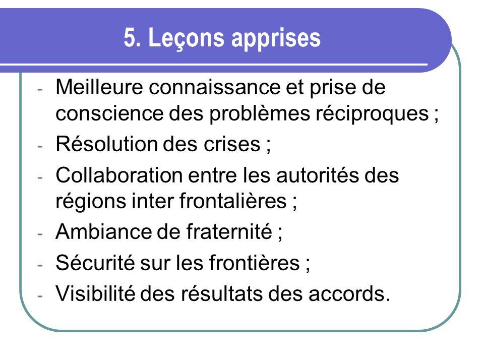 5. Leçons apprises - Meilleure connaissance et prise de conscience des problèmes réciproques ; - Résolution des crises ; - Collaboration entre les aut