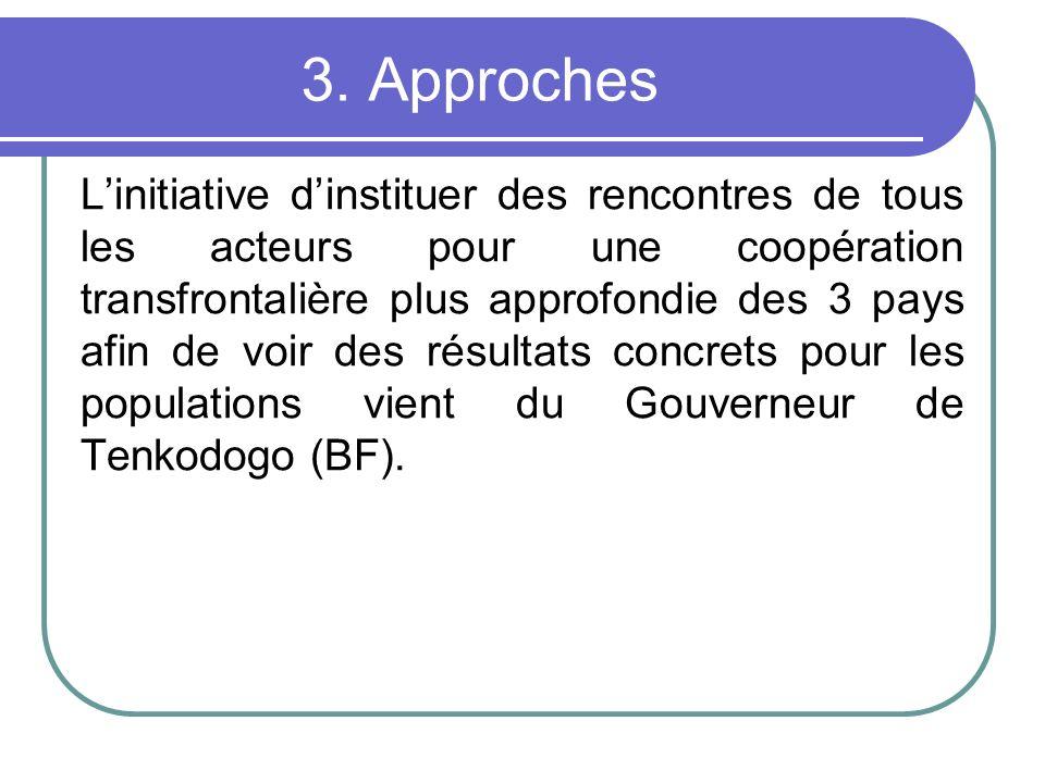 3. Approches Linitiative dinstituer des rencontres de tous les acteurs pour une coopération transfrontalière plus approfondie des 3 pays afin de voir