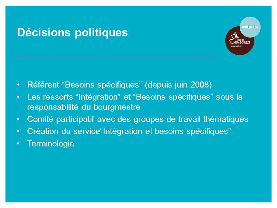 Référent Besoins spécifiques (depuis juin 2008) Les ressorts Intégration et Besoins spécifiques sous la responsabilité du bourgmestre Comité participatif avec des groupes de travail thématiques Création du serviceIntégration et besoins spécifiques Terminologie Décisions politiques