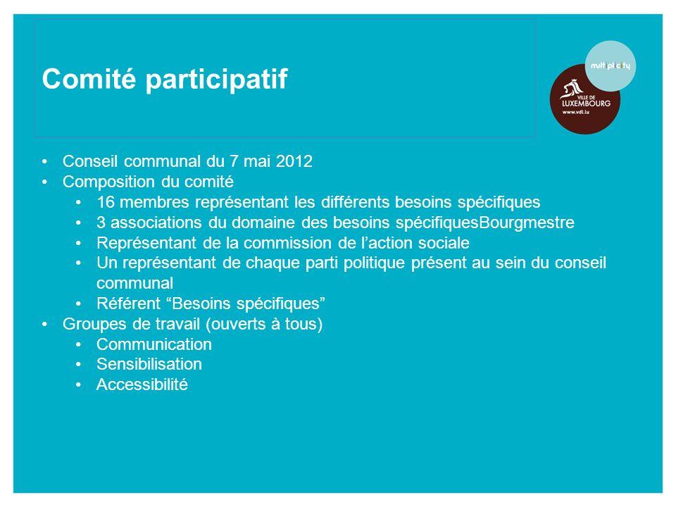 Comité participatif Conseil communal du 7 mai 2012 Composition du comité 16 membres représentant les différents besoins spécifiques 3 associations du