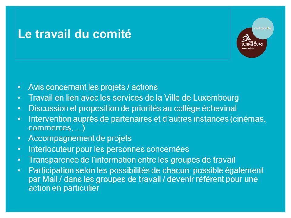Avis concernant les projets / actions Travail en lien avec les services de la Ville de Luxembourg Discussion et proposition de priorités au collège éc