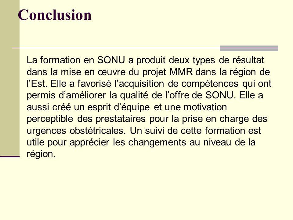 Conclusion La formation en SONU a produit deux types de résultat dans la mise en œuvre du projet MMR dans la région de lEst. Elle a favorisé lacquisit