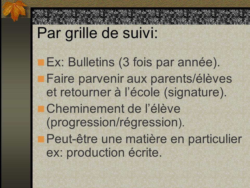 Par grille de suivi: Ex: Bulletins (3 fois par année).