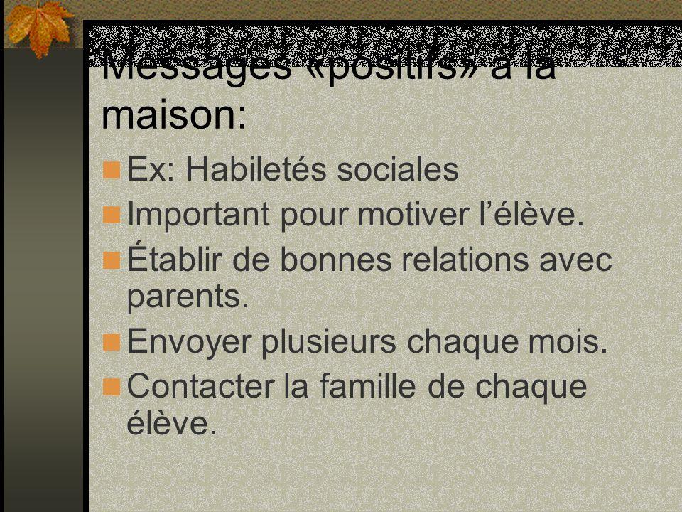 Messages «positifs» à la maison: Ex: Habiletés sociales Important pour motiver lélève.