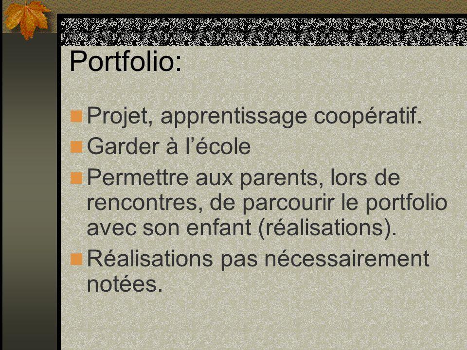 Portfolio: Projet, apprentissage coopératif.