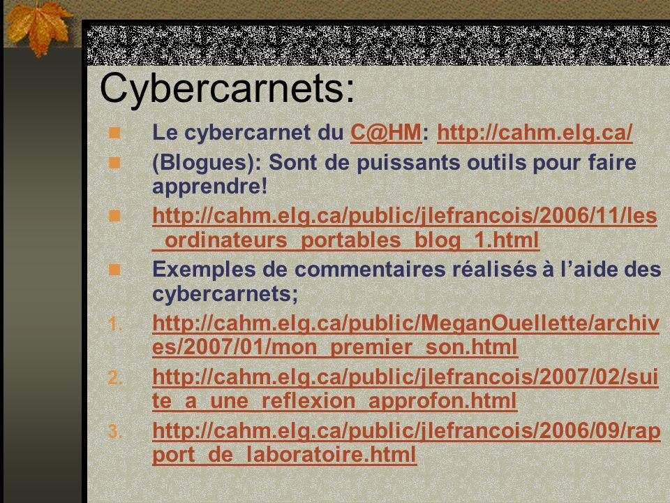 Cybercarnets: Le cybercarnet du C@HM: http://cahm.elg.ca/C@HMhttp://cahm.elg.ca/ (Blogues): Sont de puissants outils pour faire apprendre.