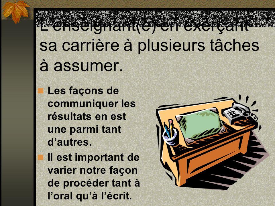 Rencontre individuelle; communication orale: Enseignant-élève Permet de gagner du temps chez lenseignant(e).