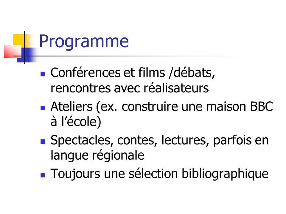 Programme Conférences et films /débats, rencontres avec réalisateurs Ateliers (ex.