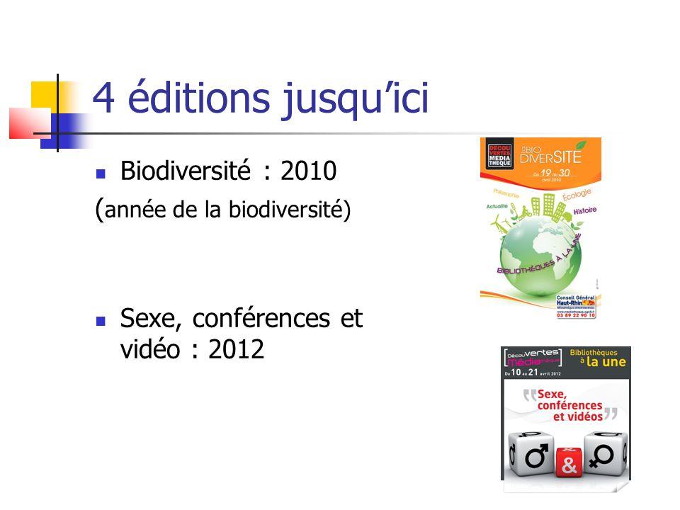 4 éditions jusquici Biodiversité : 2010 ( année de la biodiversité) Sexe, conférences et vidéo : 2012