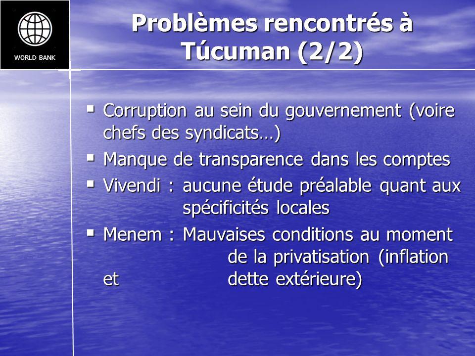 Problèmes rencontrés à Túcuman (2/2) Corruption au sein du gouvernement (voire chefs des syndicats…) Corruption au sein du gouvernement (voire chefs d