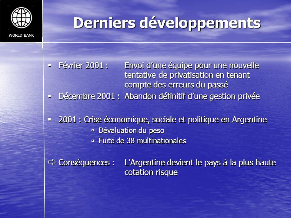 Derniers développements Février 2001 : Envoi dune équipe pour une nouvelle tentative de privatisation en tenant compte des erreurs du passé Février 20