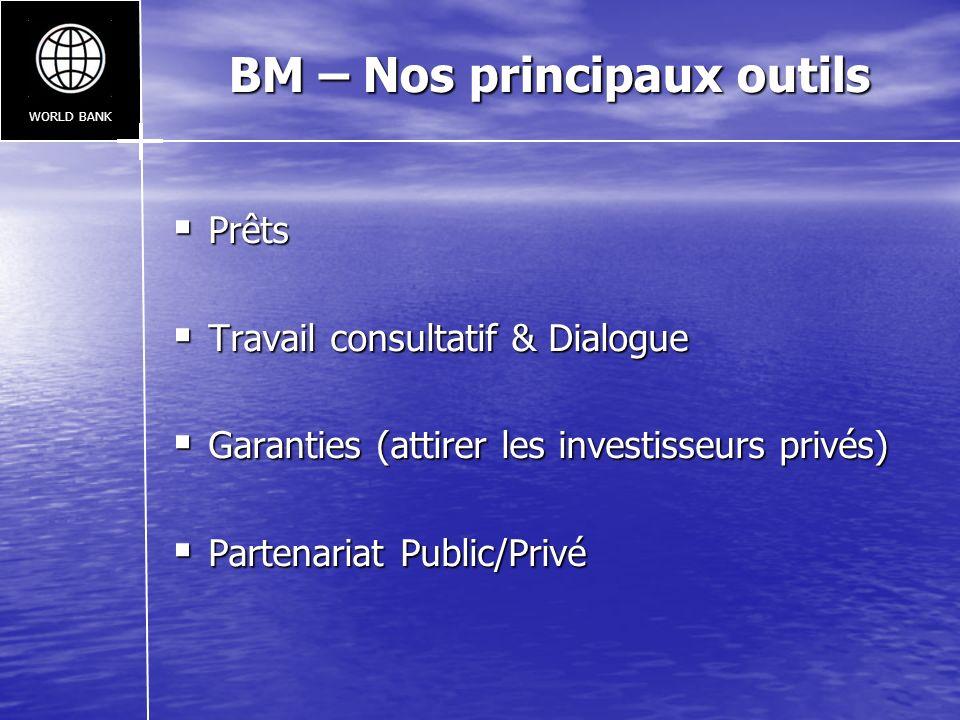 BM – Nos principaux outils Prêts Prêts Travail consultatif & Dialogue Travail consultatif & Dialogue Garanties (attirer les investisseurs privés) Gara