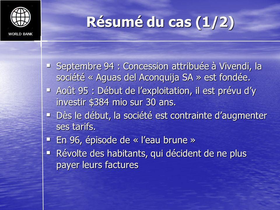 Résumé du cas (1/2) Septembre 94 : Concession attribuée à Vivendi, la société « Aguas del Aconquija SA » est fondée. Septembre 94 : Concession attribu