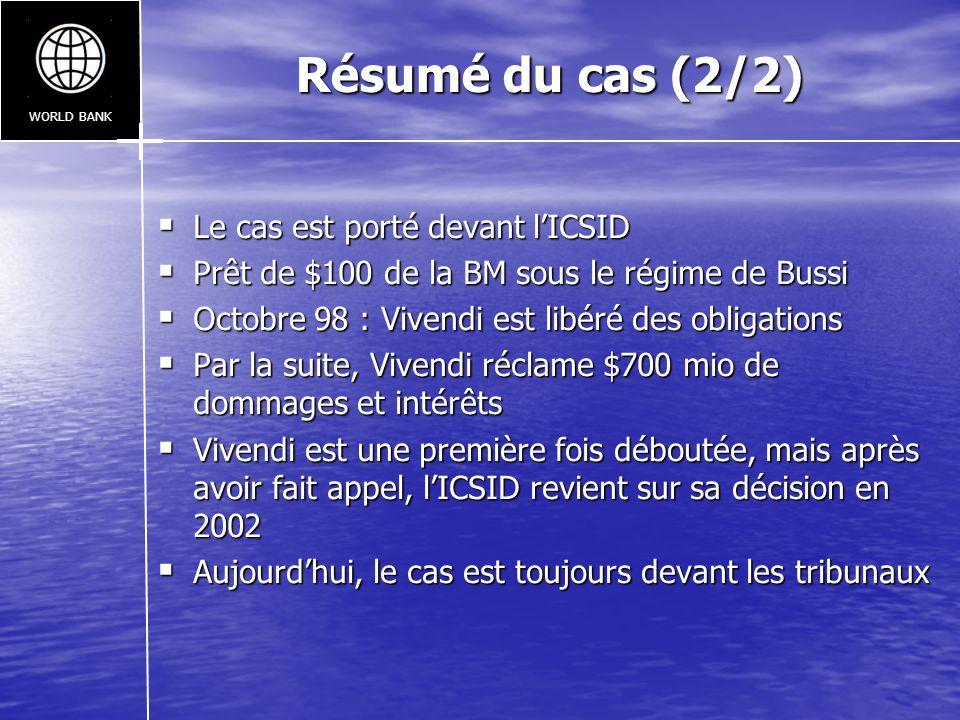 Résumé du cas (2/2) Le cas est porté devant lICSID Le cas est porté devant lICSID Prêt de $100 de la BM sous le régime de Bussi Prêt de $100 de la BM