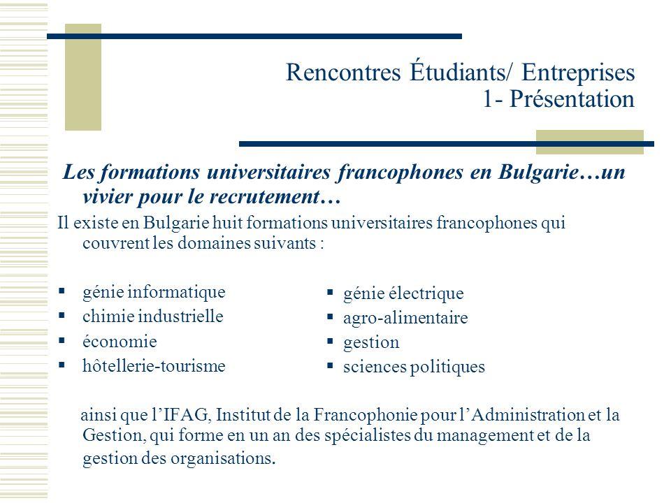 Rencontres Étudiants/ Entreprises 1- Présentation Les Rencontres « Étudiants / Entreprises » ont pour objectif doffrir un espace de rencontres privilégié aux entreprises et aux étudiants francophones.
