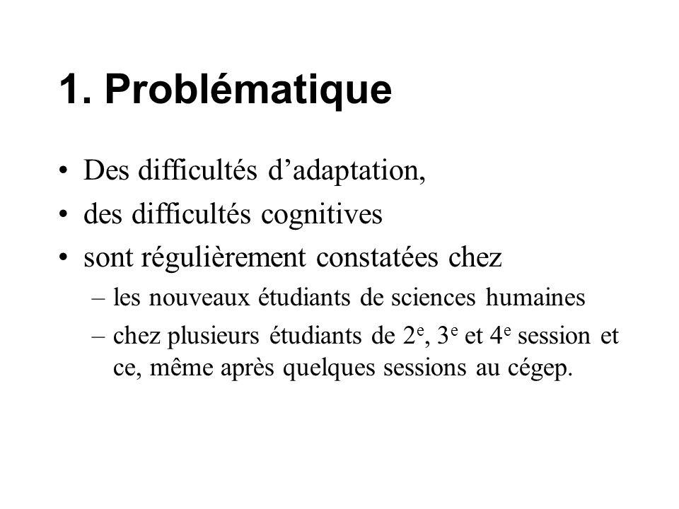 1. Problématique Des difficultés dadaptation, des difficultés cognitives sont régulièrement constatées chez –les nouveaux étudiants de sciences humain