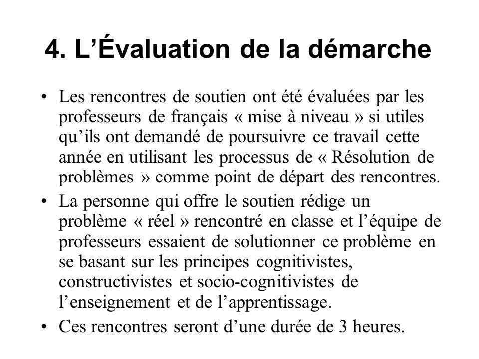 4. LÉvaluation de la démarche Les rencontres de soutien ont été évaluées par les professeurs de français « mise à niveau » si utiles quils ont demandé
