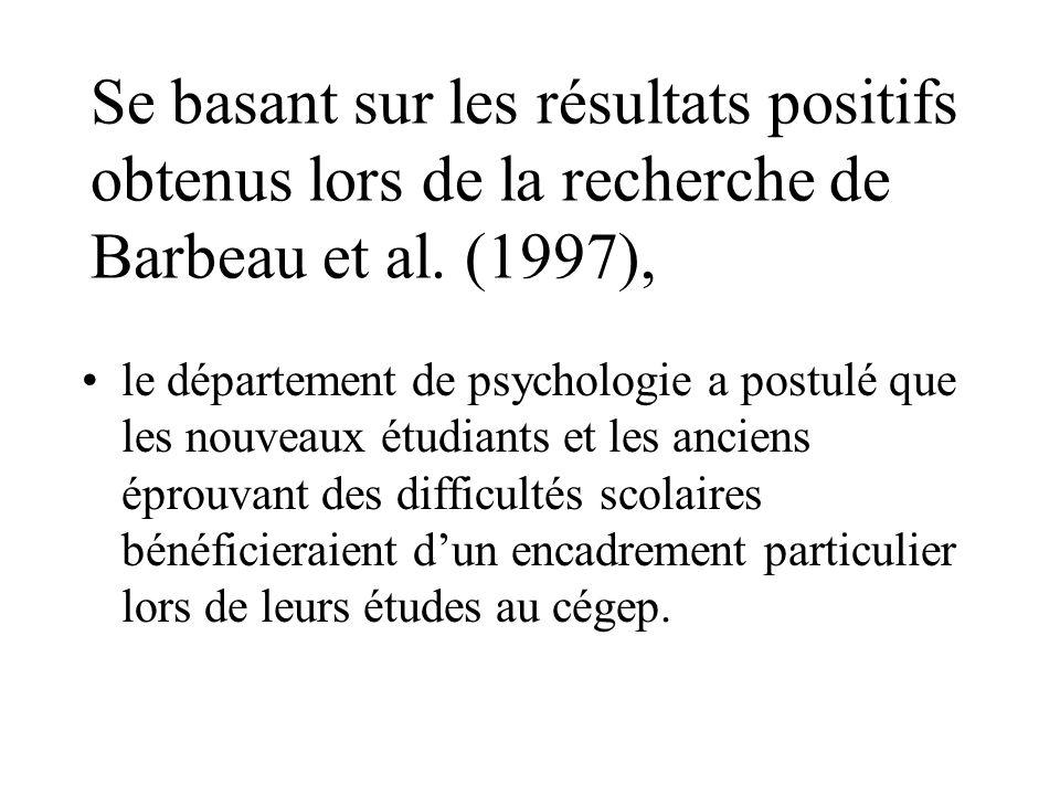Se basant sur les résultats positifs obtenus lors de la recherche de Barbeau et al. (1997), le département de psychologie a postulé que les nouveaux é
