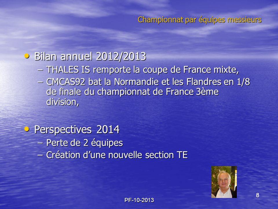 PF-10-2013 Championnat par équipes messieurs Bilan annuel 2012/2013 Bilan annuel 2012/2013 –THALES IS remporte la coupe de France mixte, –CMCAS92 bat