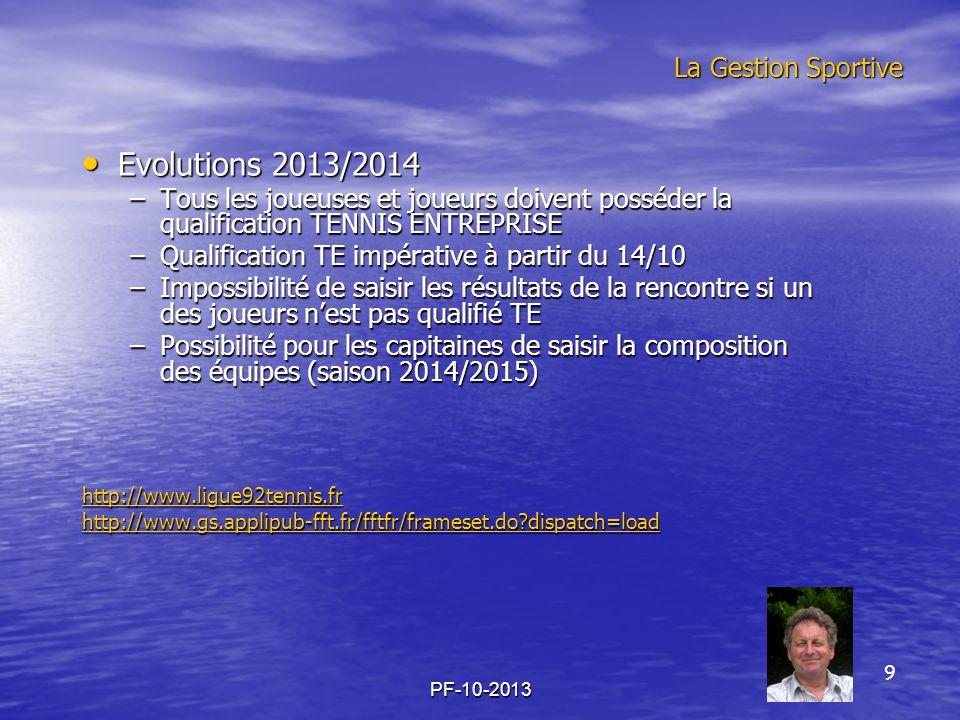 PF-10-2013 La Gestion Sportive Evolutions 2013/2014 Evolutions 2013/2014 –Tous les joueuses et joueurs doivent posséder la qualification TENNIS ENTREP
