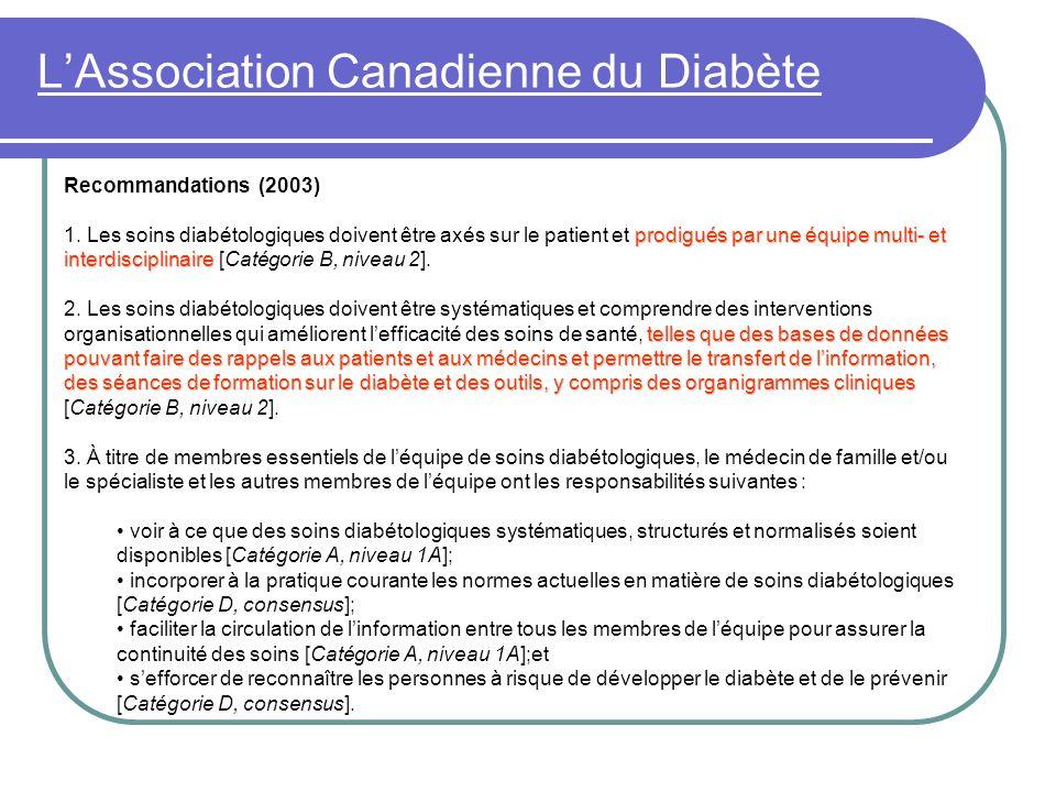 LAssociation Canadienne du Diabète Recommandations (2003) prodigués par une équipe multi- et interdisciplinaire 1. Les soins diabétologiques doivent ê