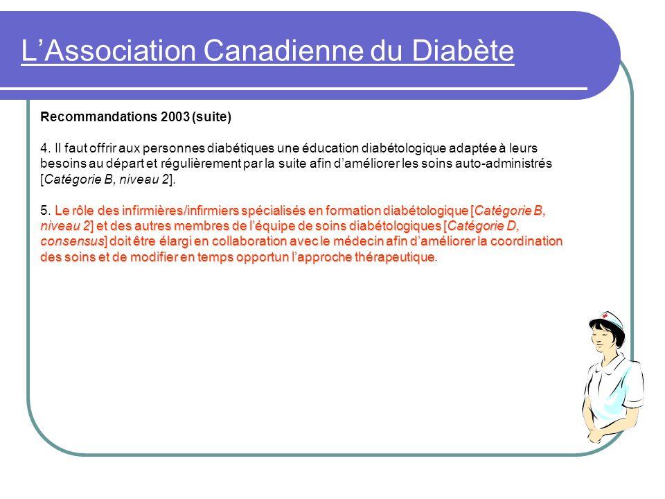 LAssociation Canadienne du Diabète Recommandations 2003 (suite) 4. Il faut offrir aux personnes diabétiques une éducation diabétologique adaptée à leu