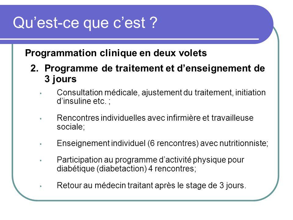 Programmation clinique en deux volets 2.Programme de traitement et denseignement de 3 jours Consultation médicale, ajustement du traitement, initiatio