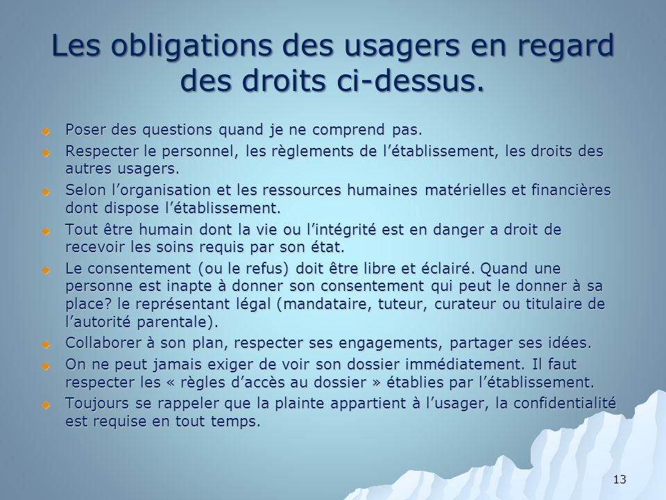 Les obligations des usagers en regard des droits ci-dessus. Poser des questions quand je ne comprend pas. Poser des questions quand je ne comprend pas