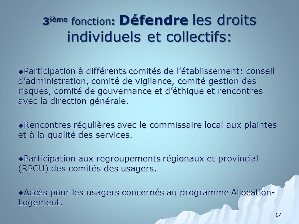 3 ième fonction: Défendre les droits individuels et collectifs: Participation à différents comités de létablissement: conseil dadministration, comité