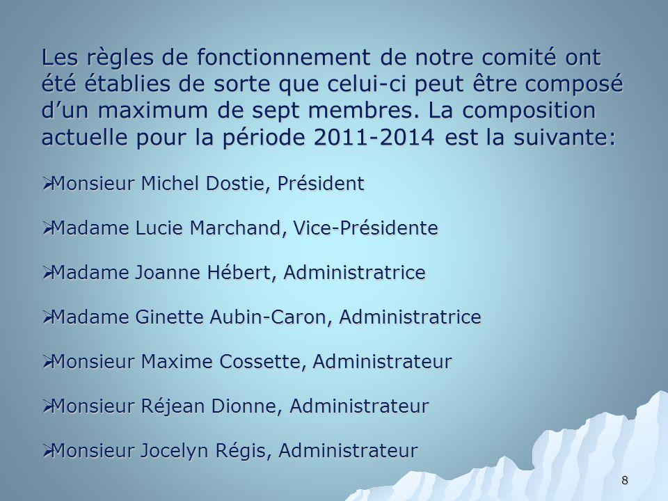 8 Les règles de fonctionnement de notre comité ont été établies de sorte que celui-ci peut être composé dun maximum de sept membres. La composition ac
