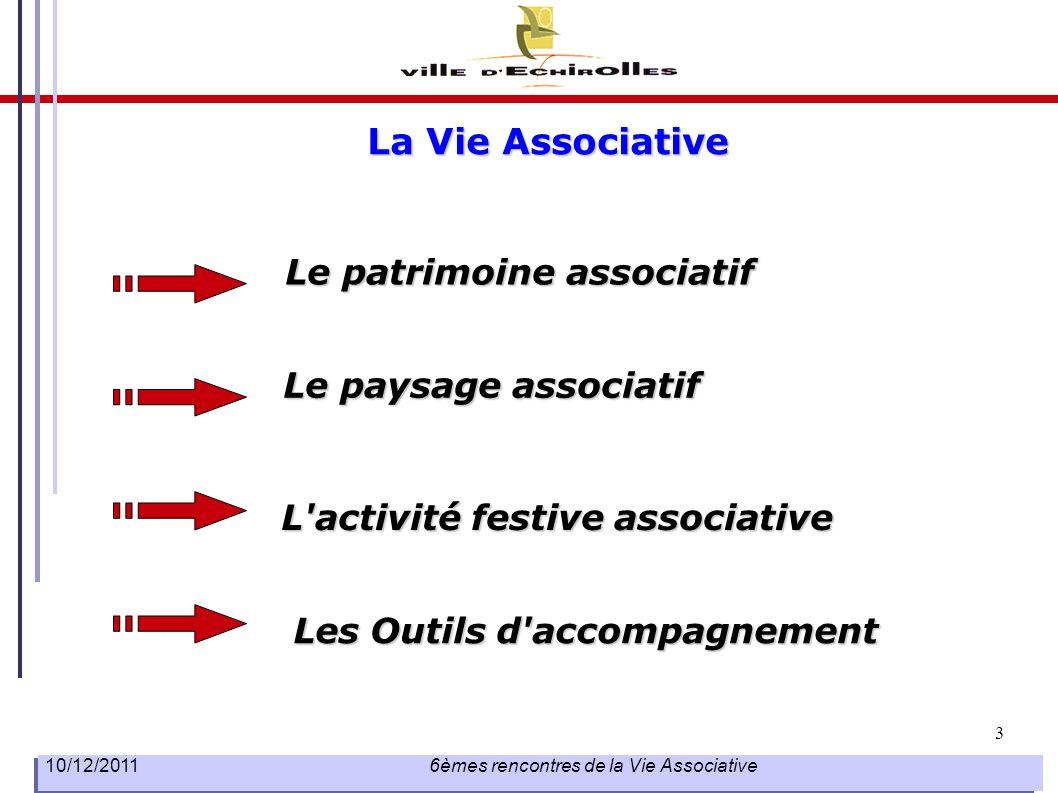 3 10/12/2011 6èmes rencontres de la Vie Associative La Vie Associative Le patrimoine associatif L'activité festive associative Le paysage associatif L