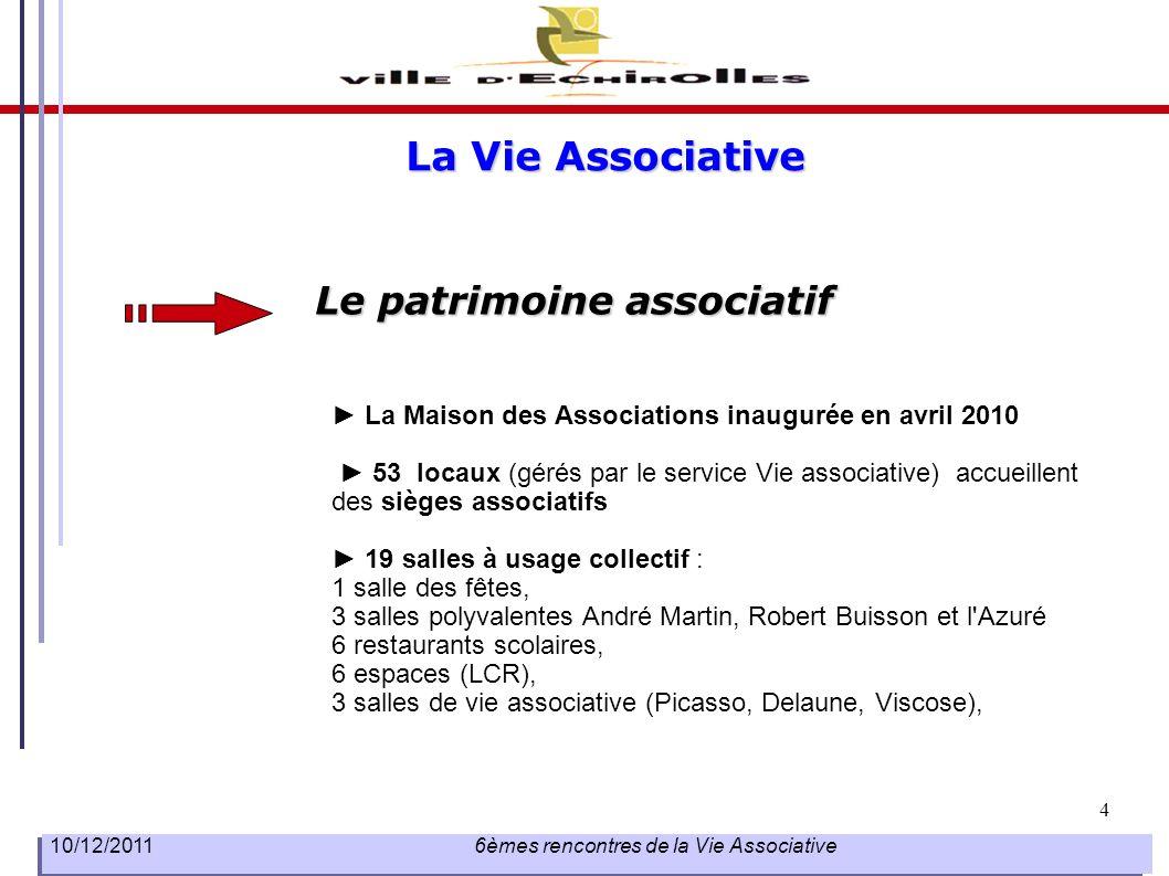 5 10/12/2011 6èmes rencontres de la Vie Associative Le paysage associatif 193 associations recensées réparties par thème dont 12 nouvelles recensées depuis 2009