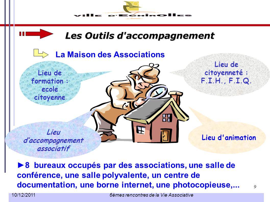 9 10/12/2011 6èmes rencontres de la Vie Associative La Maison des Associations 8 bureaux occupés par des associations, une salle de conférence, une sa